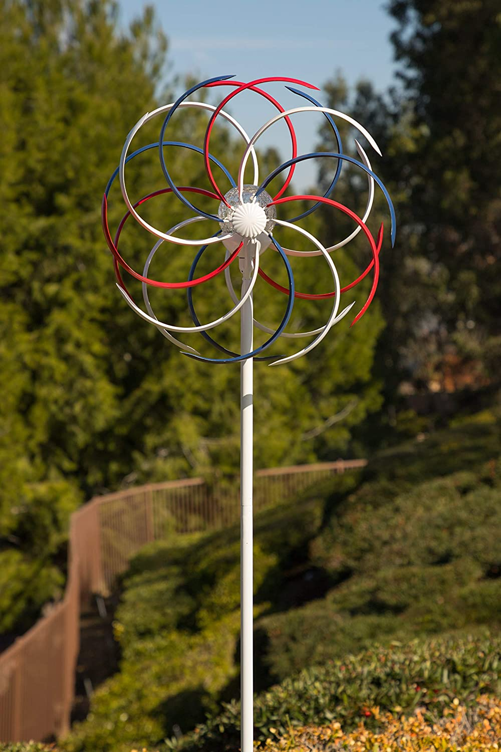 "Alpine Corporation Solar Dual Windmill Stake - Kinetic Spinner - Outdoor Yard Art Decor - Red, White, and Blue - 15"" x 7"" x 68"""