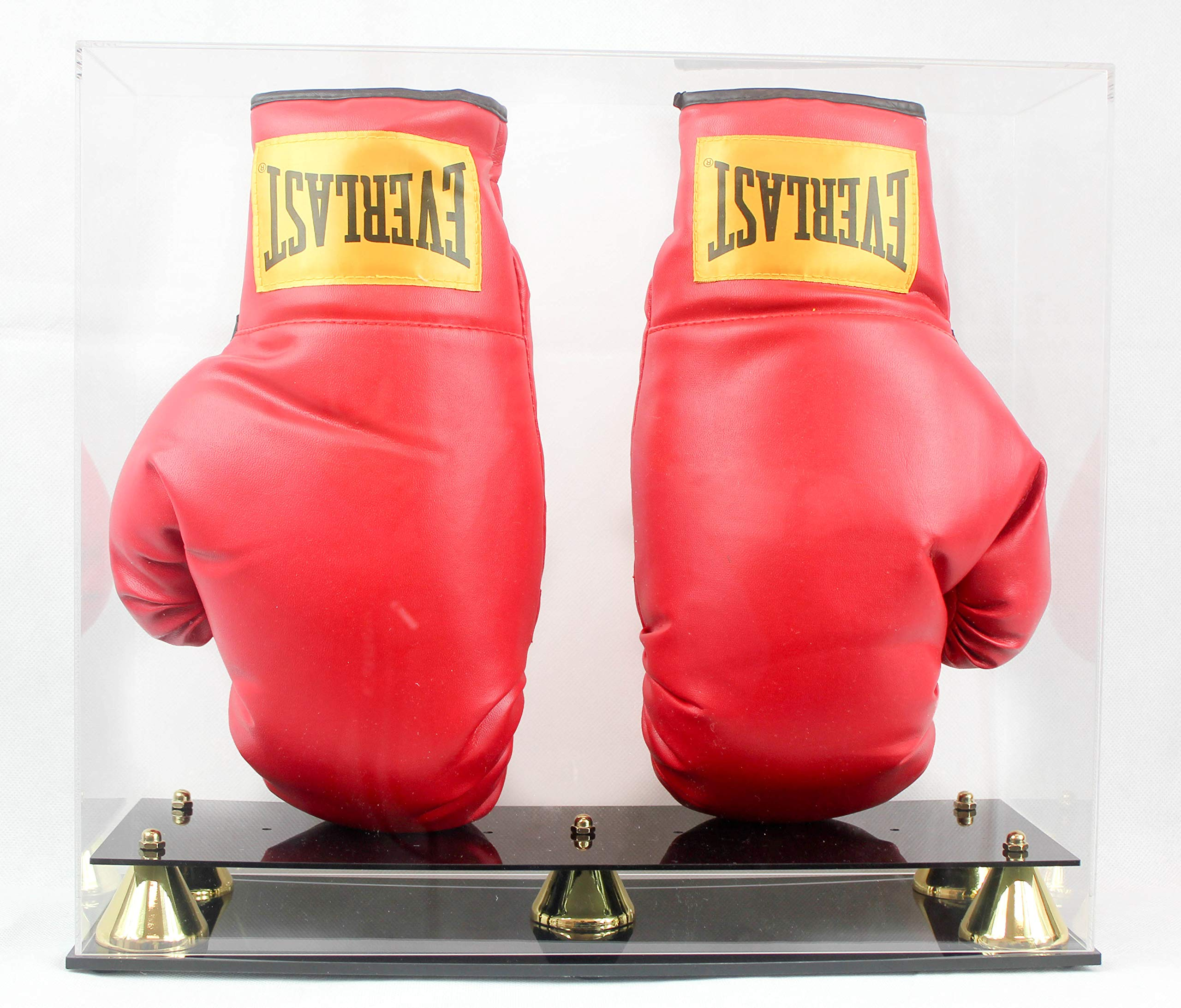 Boxing Glove Display Case Holder Showcase, with Stands for the Gloves, UV Protection, Elegant Riser Stand (Two Gloves)