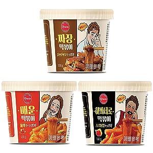 Korean Spicy Tteokbokki, Spicy, Habanero, Jjajang with Noodle, Instant ( Variety Pack of 3) Korean Tteokbokki / Korean Food 4.66oz X 3 Pack Tiktok Spicy Challenge by Unha's Asian Snack Box