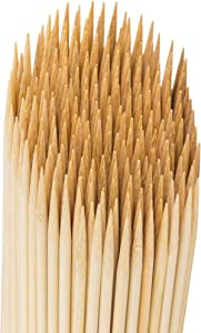 MILEKE Natural Shish Kabob Bamboo Sticks, Strong BBQ Skewers for Grilling, Φ3.5mm/12 inches Long, Pack of 150