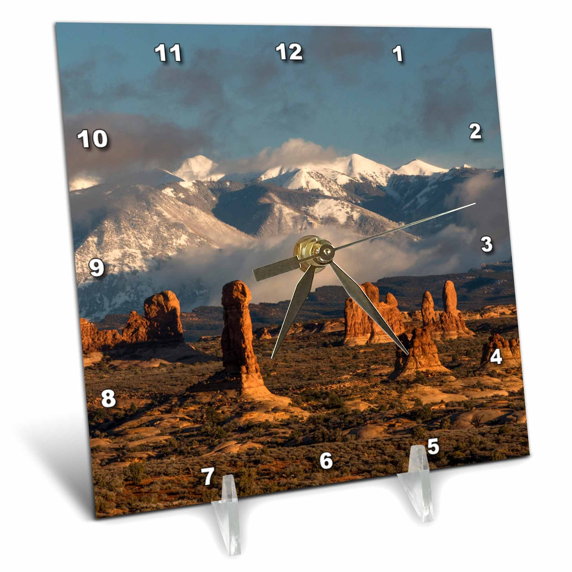 3dRose Danita Delimont - Utah - Usa, Utah, Arches NP. Windows Section with La Sal Mountain range. - 6x6 Desk Clock (dc_260265_1)