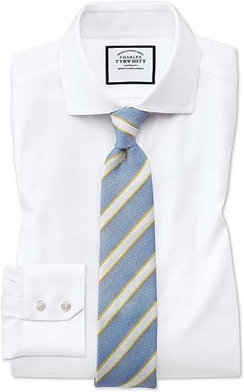 Camisa sin Plancha Oxford Blanca de algodón elástico Slim fit con Cuello Italiano: Amazon.es: Ropa y accesorios