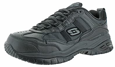 Skechers Men's Work Relaxed Fit Soft Stride Grinnel Comp, Black Leather/Black Mesh - 11 D(M) US