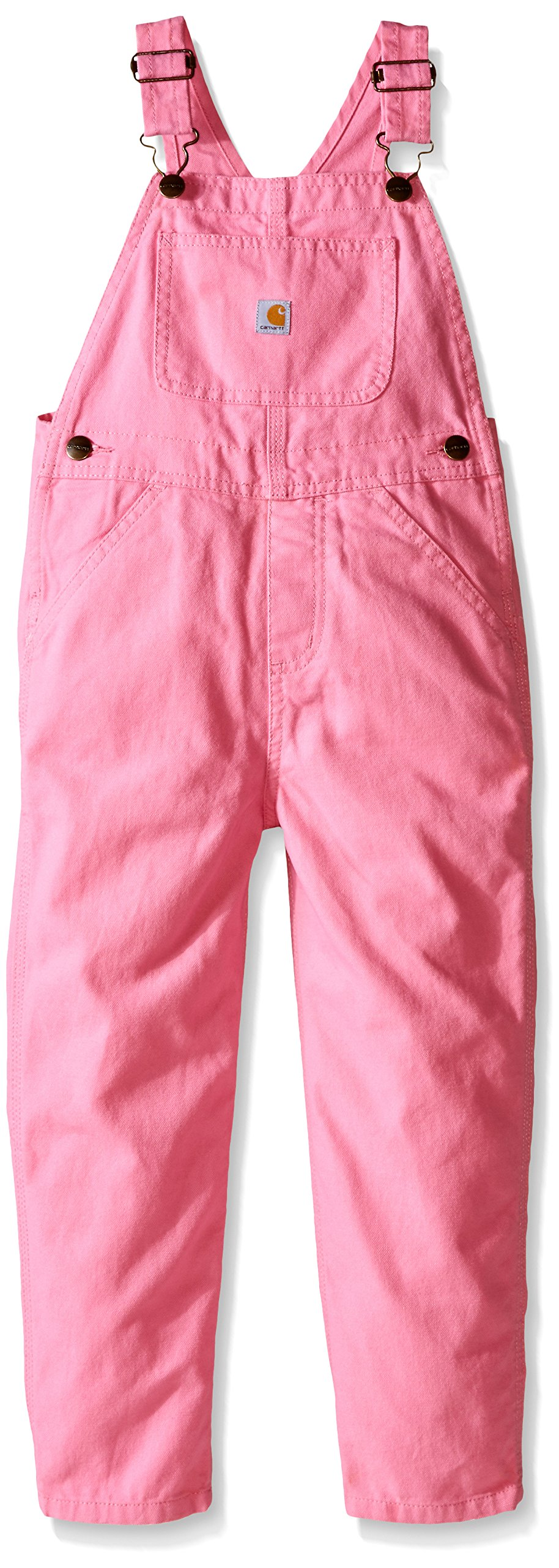 Carhartt Little Girls' Washed Miscrosanded Canvas Bib Overall, Pink, 5