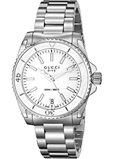 Gucci Dive Swiss Quartz Silver-Tone Womens Watch(Model:YA136402)