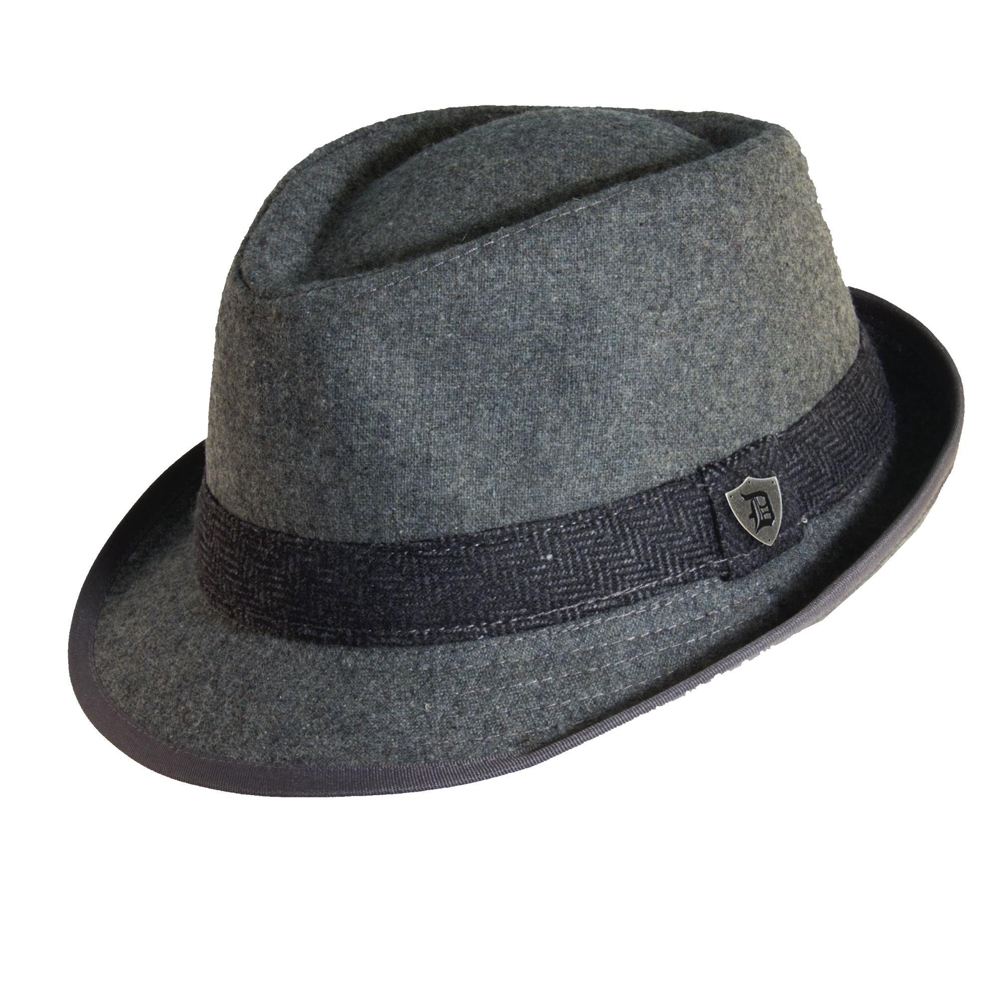 Dorfman Pacific Mens Wool Herringbone Band Classic Fedora Hat (Grey, Large)