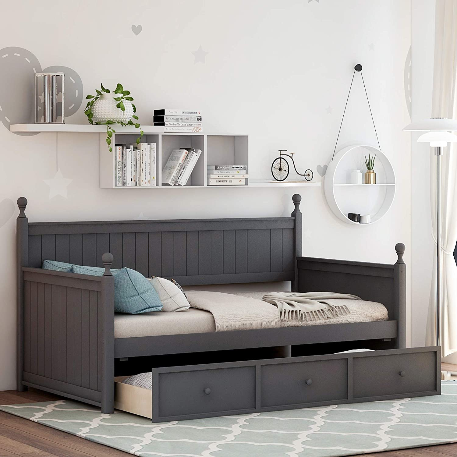 Wood Daybed with 3 Drawers, Solid Wood Daybed Twin Size Bed Frame for Kids/Adults, No Box Spring Needed, Gray