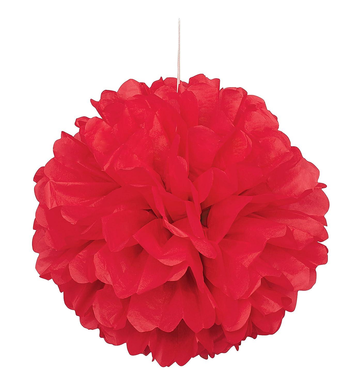 Set Of 5 Red Tissue Paper Pompoms Hanging Flower Balls Wedding