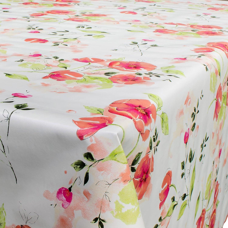 Tovaglia - Telo cerato per tavola, lavabile, motivo: fiori di papavero, Misura: a scelta, Plastica, Bunt, Rund 100cm ANRO