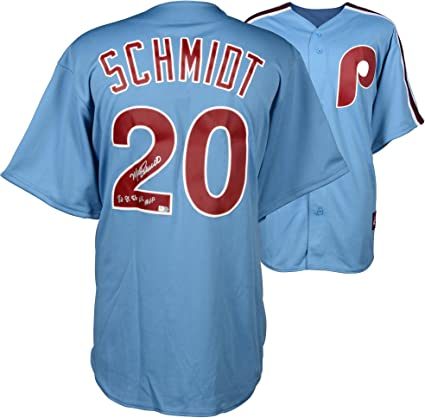 Mike Schmidt Philadelphia Phillies Autographed Majestic Cooperstown Replica Blue  Jersey with 80 3ee08109cc0