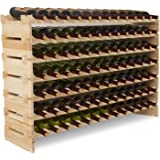 Mecor Wine Rack Shelf Standing Floor Wooden Stackable Wine Bottle Storage Shelves (7 Tier( 91 Bottles))