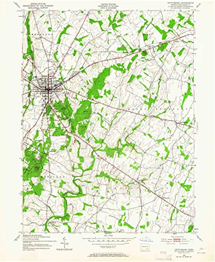 Gettysburg Topographic Map.Amazon Com Yellowmaps Gettysburg Pa Topo Map 1 24000 Scale 7 5 X
