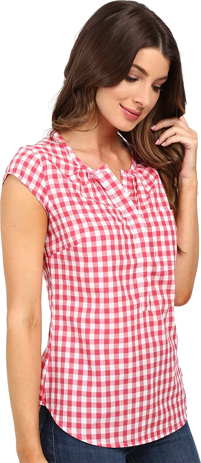 U.S Rouge red Polo Assn Womens Cap-Sleeve Half-Placket Pullover Check Blouse Shirt