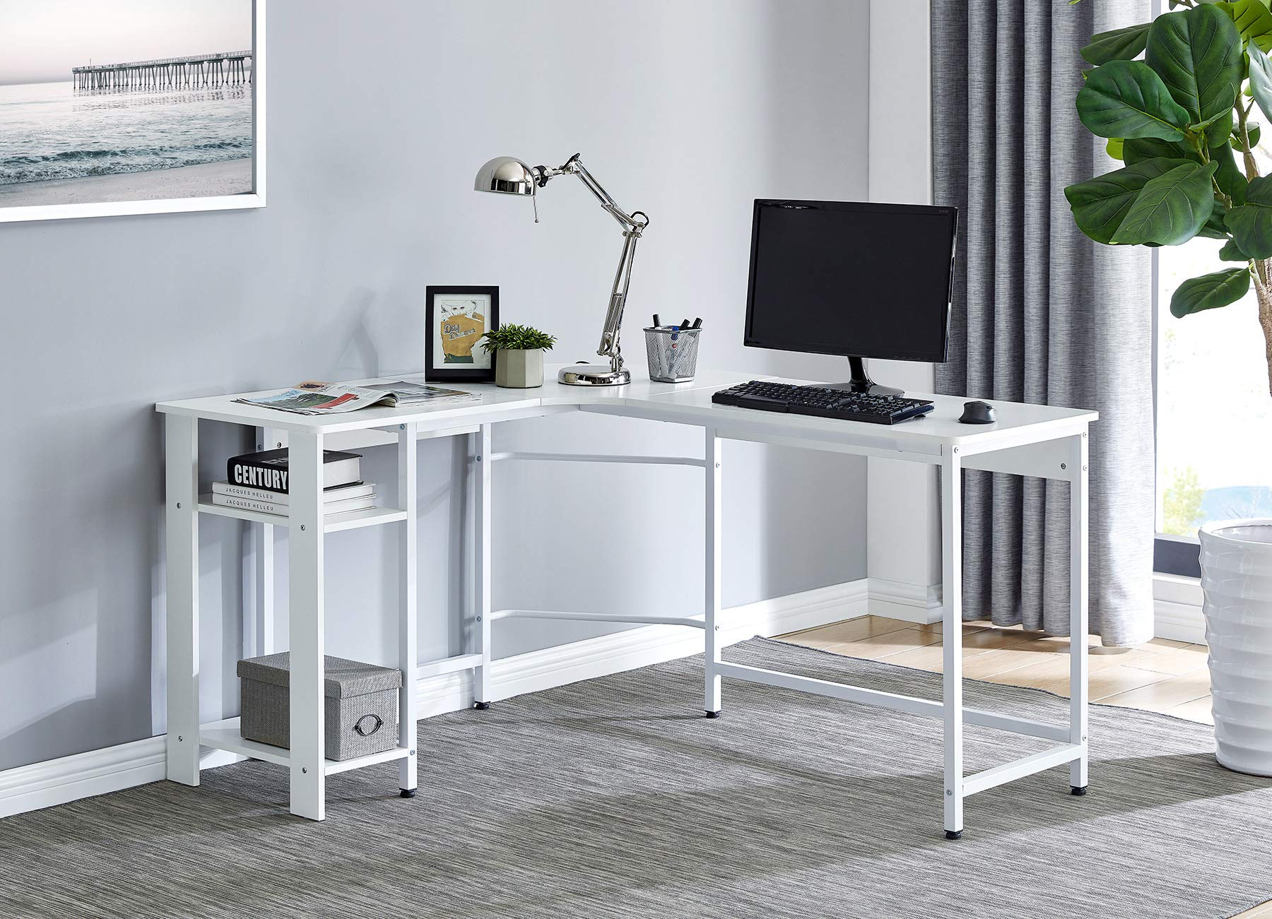 Fineboard FB-LD20-WW Home Office L Shaped Computer Desk with 2 Shelves, White by Fineboard