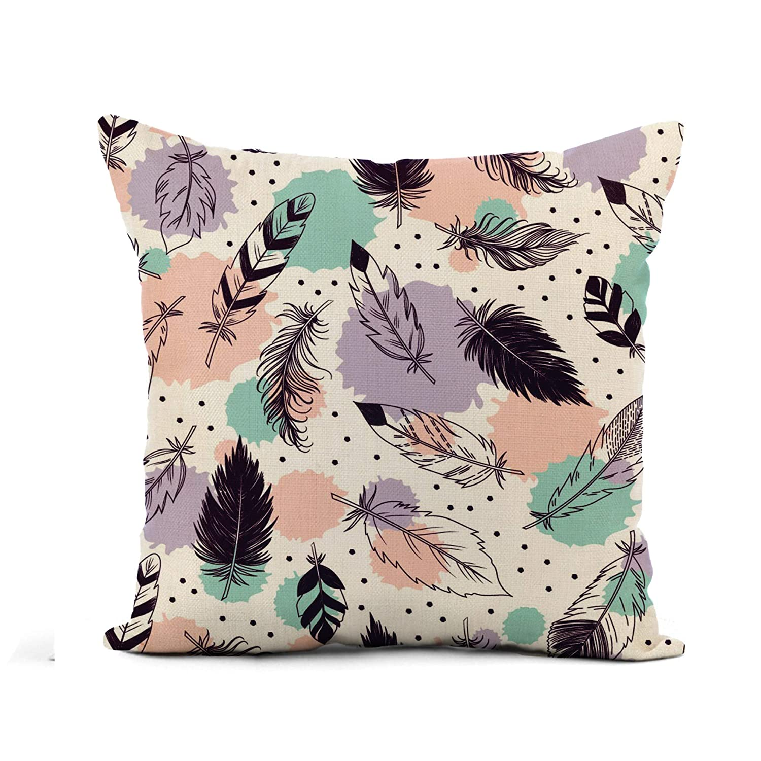 Buy Awowee Flax Throw Pillow Cover Abstract Feathers Beautiful Beauty Bird Color Drawing Elegance Flying 20x20 Inches Pillowcase Home Decor Square Cotton Linen Pillow Case Cushion Cover Online At Low Prices In
