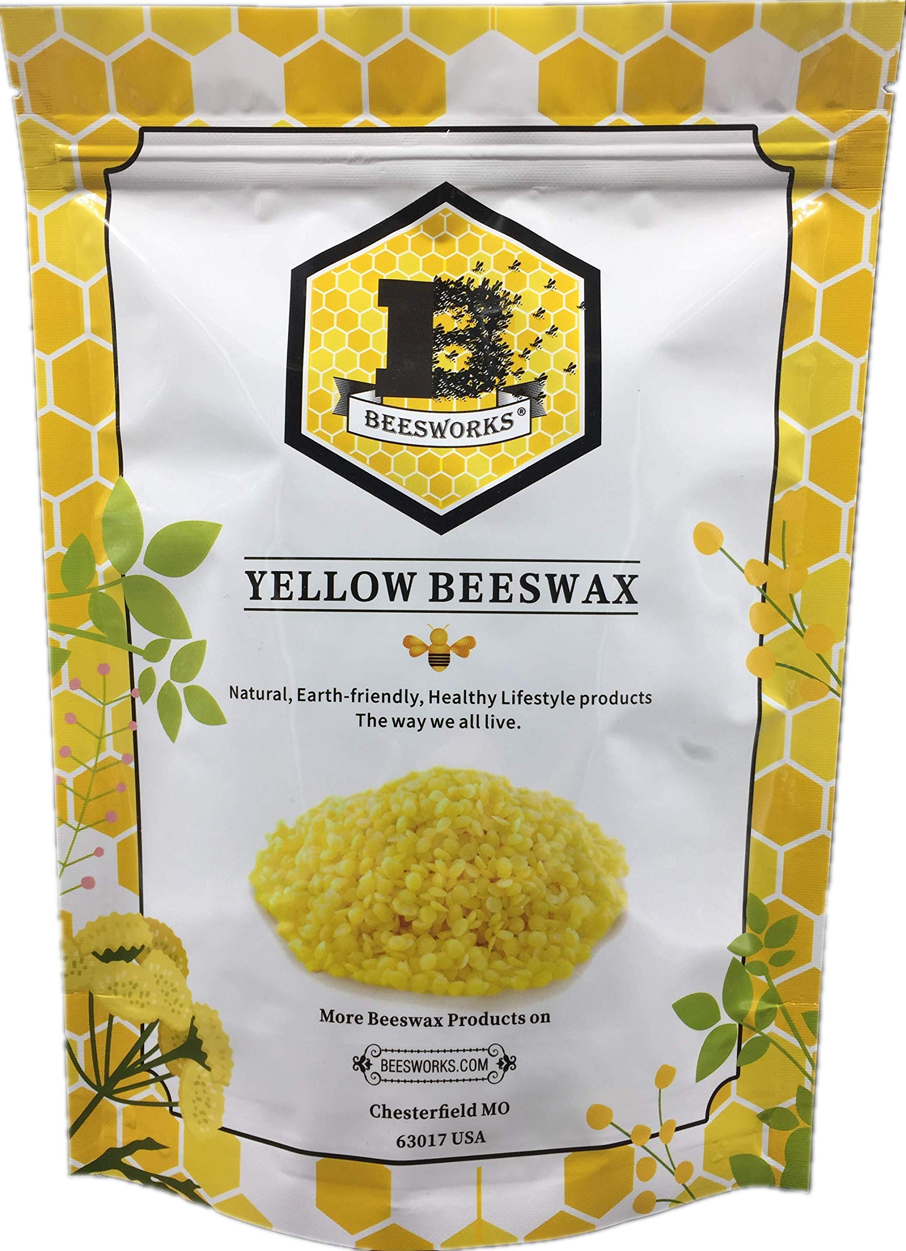 Beesworks® Beeswax PELLETS, Yellow, 1lb-Cosmetic Grade-Triple Filtered Beeswax. Must Have for Many Different Projects