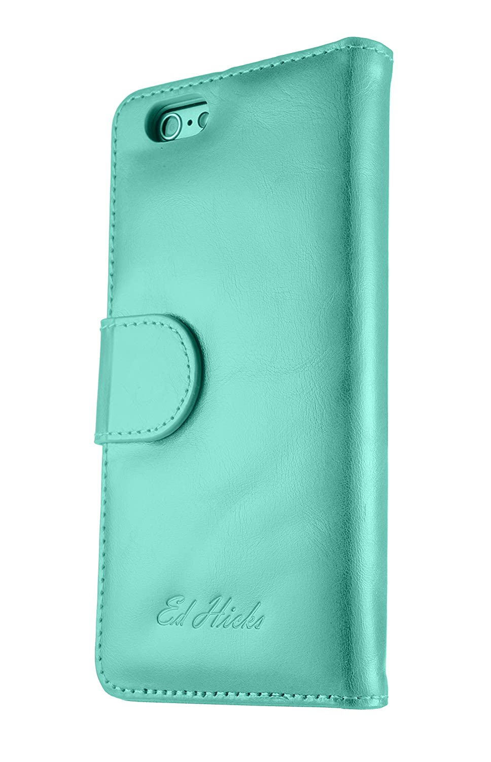 Pink with Black Details Ed Hicks Womens Leather Wallet Case for iPhone 6 6S