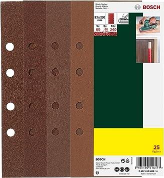 Bosch Pro 25 uds Juego de hojas de lija para lijadora Madera y color, grano 40//80//120//180, C470, C430, paquete abref/ácil .