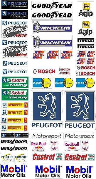 Peugeot Logo Autoaufkleber Sponsoren Marken Aufkleber Decals Tuning Sticker Set Baumarkt