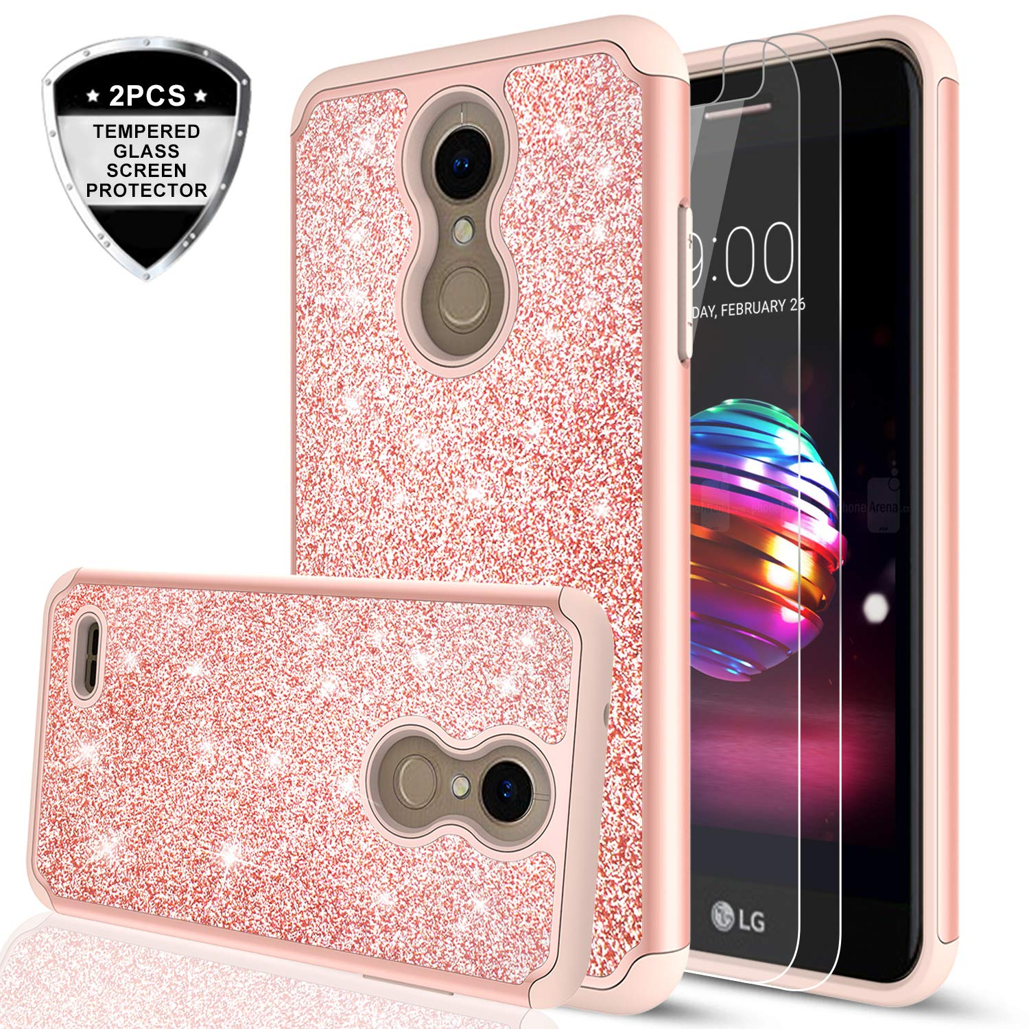 LG K30 /LG Premier Pro LTE/ LG Harmony 2/ LG Phoenix Plus Case with  Tempered Glass Screen Protector [2 Pack] for Girls Women,LeYi Glitter Dual  Layer