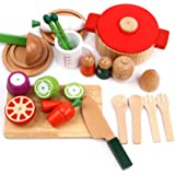 iPlay, iLearn Wooden Cutting & Cooking Pretend Play Set, Cookware, Serve Utensils, Pots Pans, Learning Educational Kitchen Toy 2, 3, 4, 5, 6 Year Olds up Kids Boys, Girls Toddlers