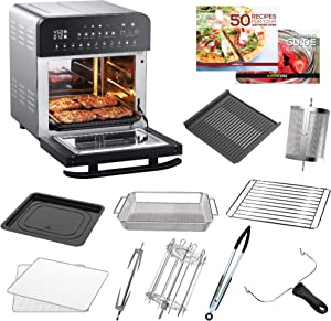 GoWISE USA 14.7-Quart Air Fryer Grill with Dual Heating Elements & Oven with Rotisserie, Dehydrator, Preheat and Broil Functions + 11 Accessories with 2 Recipe Books (Stainless Steel/Black), Ultimate (Renewed)