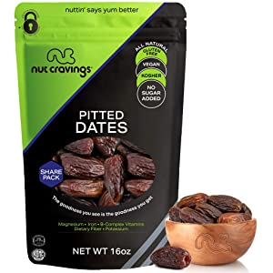 Sun Dried Deglet Noor Dates Pitted, No Sugar Added (16oz - 1 LB) Packed Fresh in Resealable Bag - Sweet Dehydrated Fruit Treat, Trail Mix Snack - Healthy Food, All Natural, Vegan, Gluten Free, Kosher