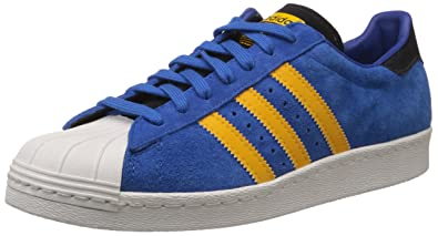 new style fa23c fb916 adidas Originals Men s Superstar 80S Blue, White and Yellow Sneakers - 10 UK