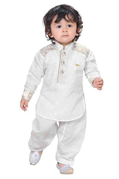 f420202b270ba Munna Munni Classic White Cotton Linen Pathan Suit for Baby Boys (12-18  Months)  Amazon.in  Clothing   Accessories