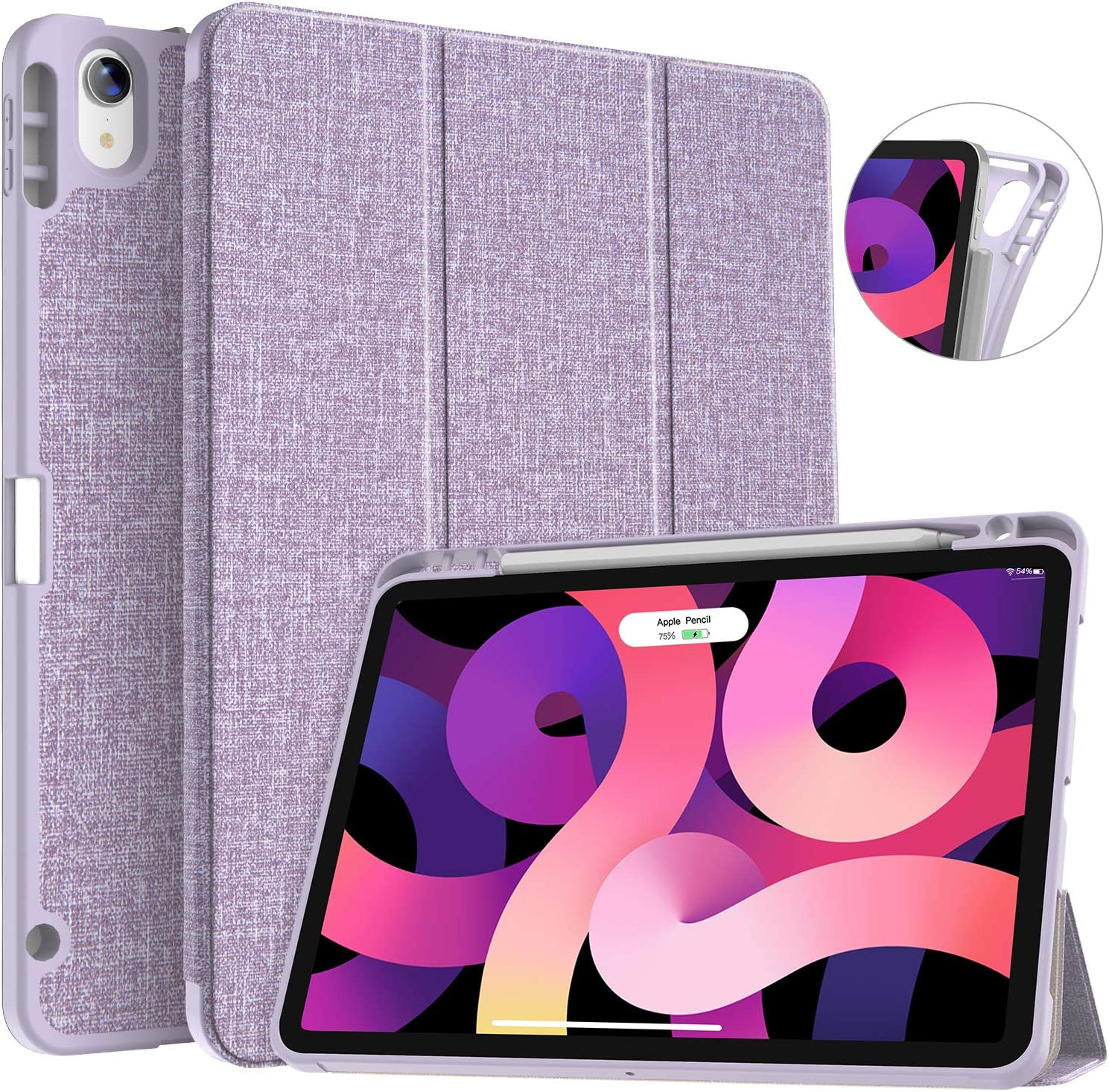 Soke iPad Air 4 Case 10.9 Inch 2020 with Pencil Holder - [Full Body Protection + Apple Pencil Charging], Soft TPU Back Cover for 2020 New iPad Air 4th Generation,New Violet