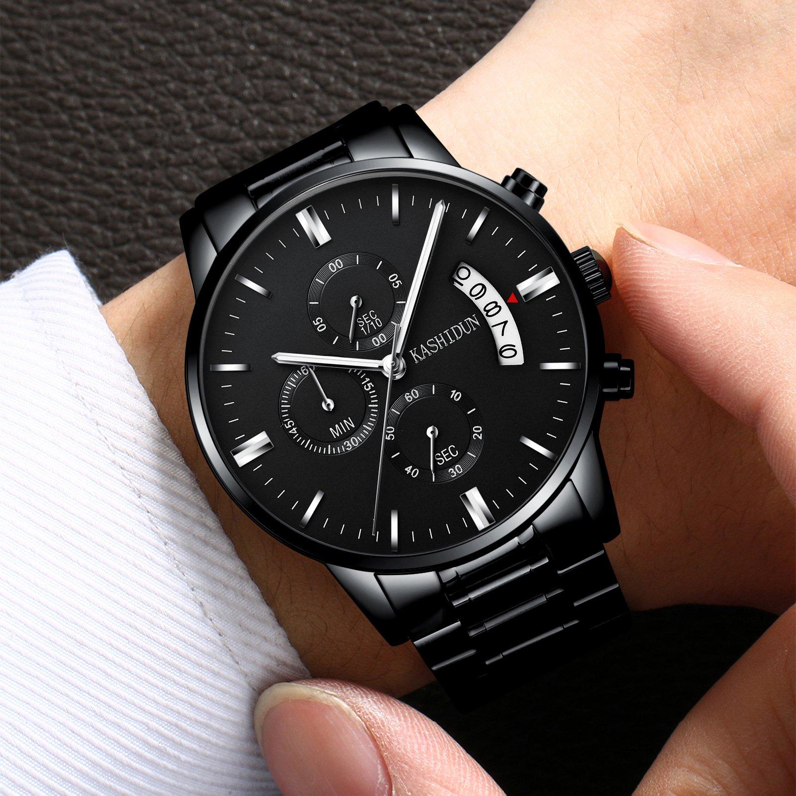 Mens Stainless Steel Watches Men Chronograph Waterproof Sport Date Quartz Wristwatch Classic Watch Black Color by KASHIDUN (Image #4)