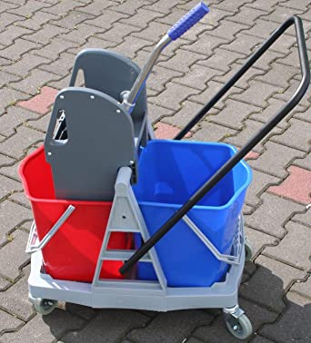 Carro doble plástico carrito de limpieza (conducción Cubo con eje 2 x 20 ...