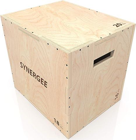 Synergee 3 en 1 caja de madera pliométrico para salto adiestramiento y acondicionamiento .Tamaño - 20/18/16: Amazon.es: Deportes y aire libre