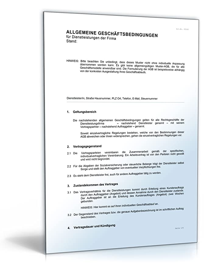 Agb Dienstleistungen Word Dokument Amazonde Software