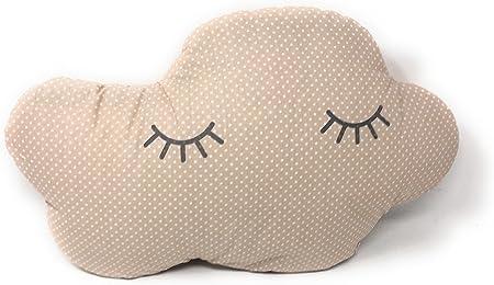 2 Cojines Bebe Decorativos Nube y Estrella Durmiendo Ideal para cuna - Danielstore (Beige)