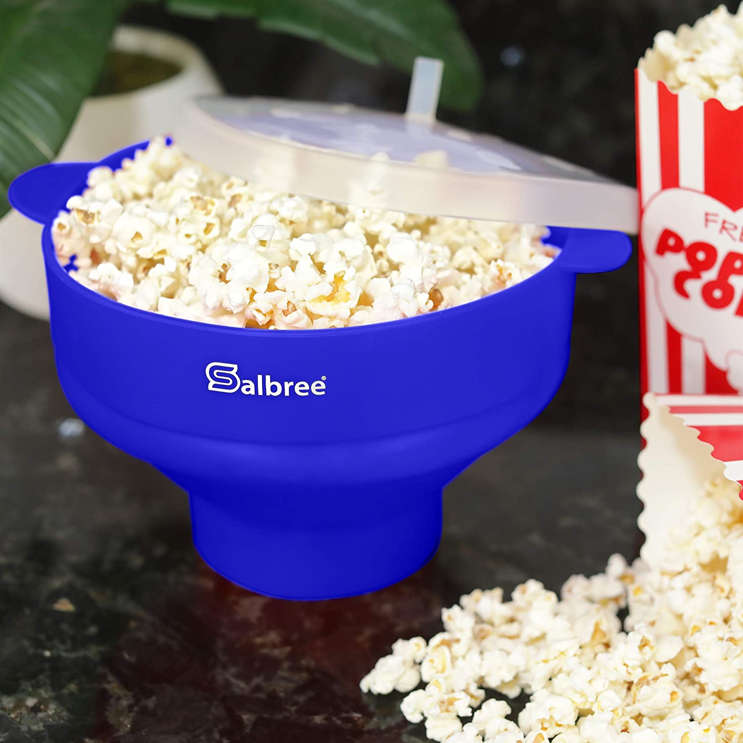 Blue Foldable Easy to Use Easy to Store Microwave Popcorn Popper Bowl Easy to Clean