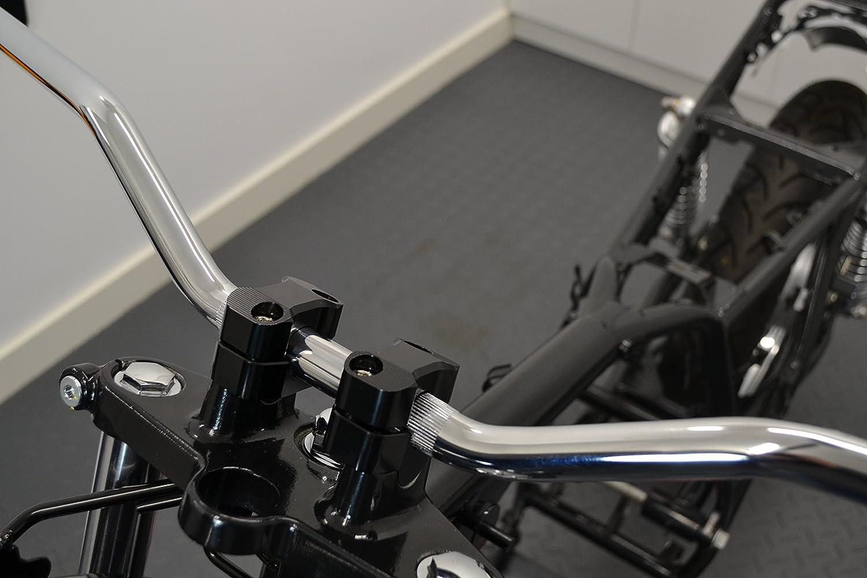 22mm 7//8  Pouce pour Rampants Brat Motos Streetfighters Alliage Chrome Moto R/ésistance Guidon