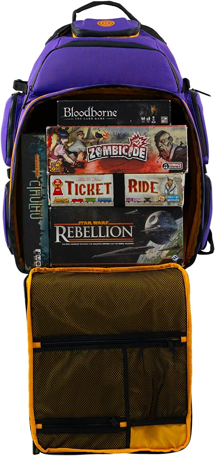 Ultimate Boardgame Backpack - The Smartest Way to Carry Your Games - Expandable Multi-Functional Backpack - Carry-on Compliant (Purple/Gold)