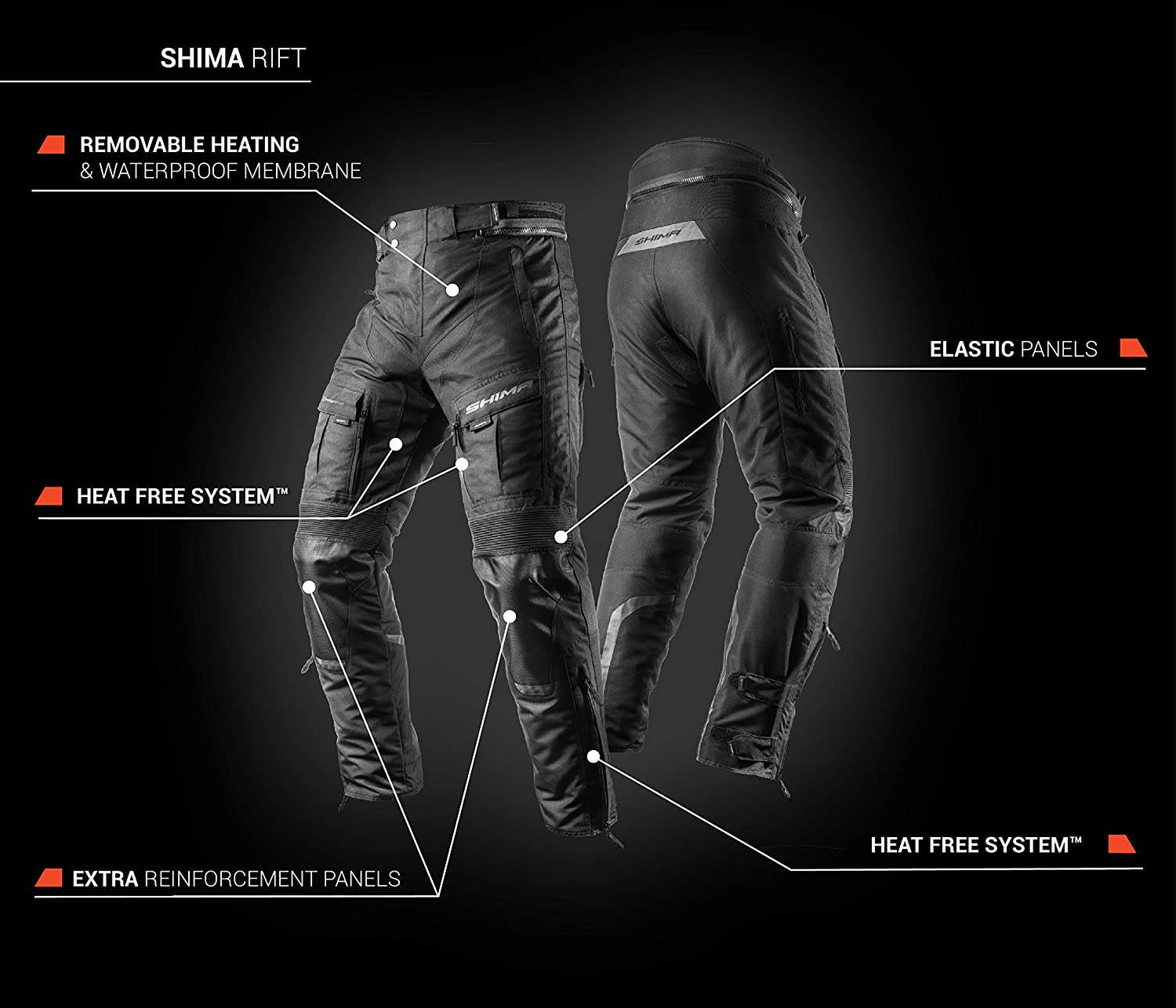 Mens Waterproof Touring X-Shell Protectors Motorcycle Pants with Armor SHIMA RIFT TROUSERS M, Black S-3XL