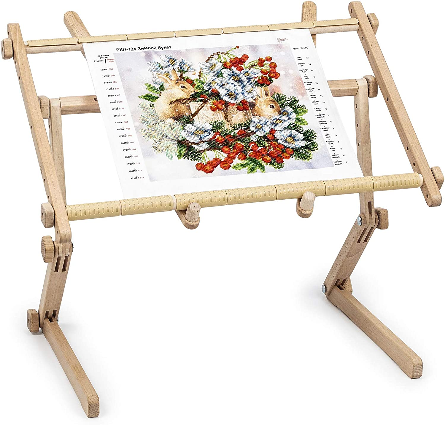 Needlework Table and Lap Hands-Free Stand Made of Organic Beech Wood Tapestry Cross Stitch Embroidery Frame Holder