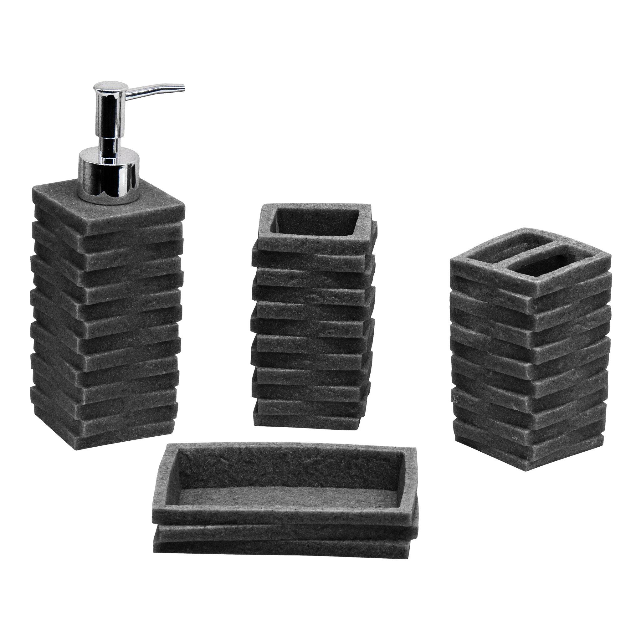 4pc Bathroom Accessories Set   Toothbrush Holder, Soap Dish, Soap/Lotion  Dispenser,