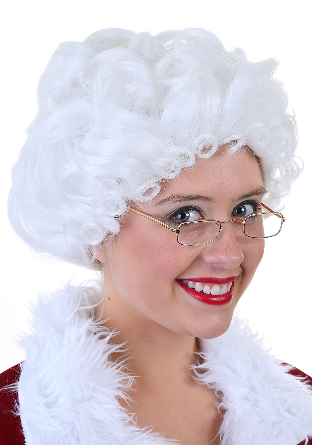 Mrs. Claus Curly White Costume Wig