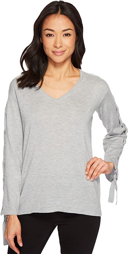b04c7a12a0d96b Vince Camuto Specialty Size Womens Petite Long Sleeve V-Neck Lace-Up Sleeve  Sweater at Amazon Women's Clothing store: