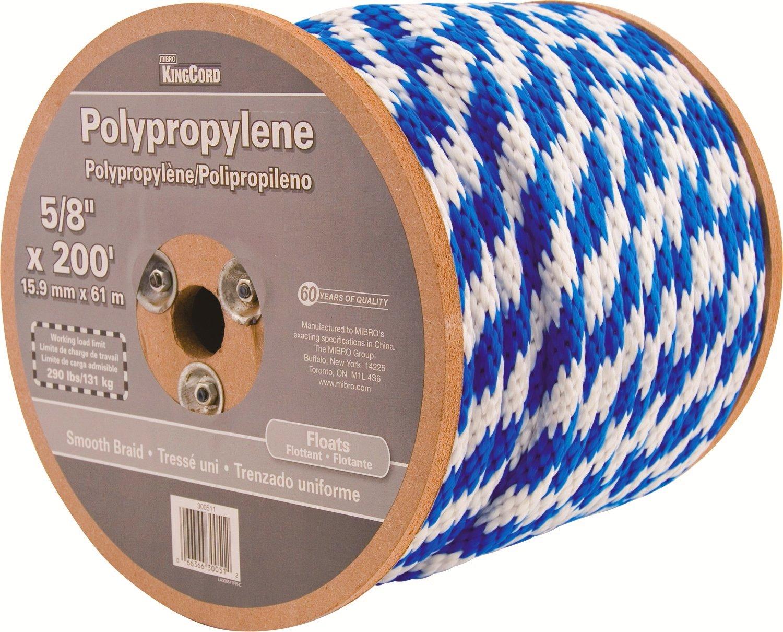 KingCord 300511 Smooth Braid Polypropylene Derby Rope 5//8 inch x 200/'