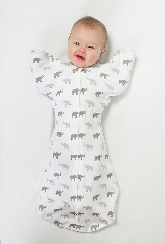 0-3 Mesi Piccolo Argento Swaddle Sack with Arms Up Sacco Avvolgente di Transizione con Maniche Amazing Baby by SwaddleDesigns Elefantini