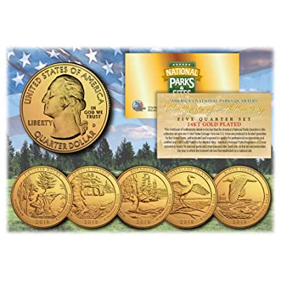 2020 America The Beautiful 24K GOLD PLATED Quarters Parks 5-Coin Set w/Capsules: Everything Else