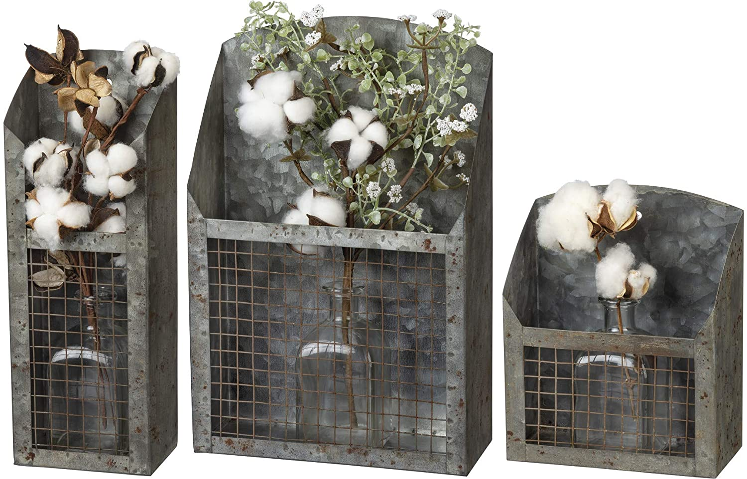 Primitives by Kathy Farmhouse Galvanized Wire Bins, Set of 3, Vertical