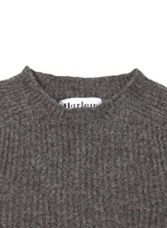 Harley of Scotland Voe True Shetland Rib Crewneck Sweater 4141-7: Grey
