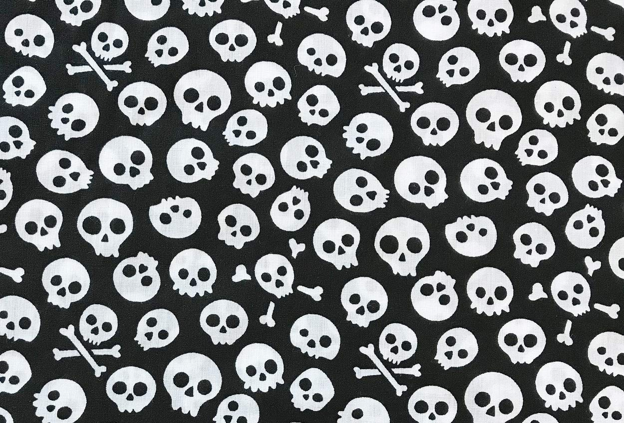 Polycotton Fabric NEW Craft BLACK  SKULL PIRATE Metre Material Special Offer