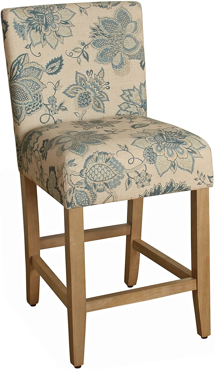 HomePop by Kinfine Fabric Upholstered Counter Height Barstool - 24-inch, Blue and Tan Jacobean